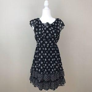 Justice Black Sequin And Floral Dress